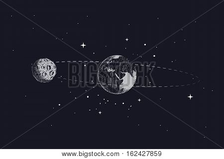 moon orbits the planet earth in its orbit.Hand drawn vector illustration