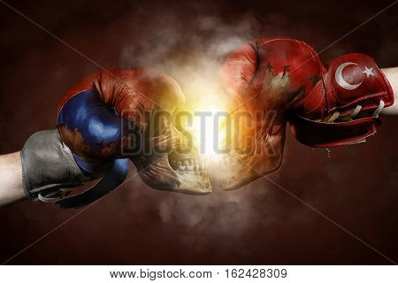 Symbol of the Crisis between Turkey and Russia symbolized with Boxing Gloves