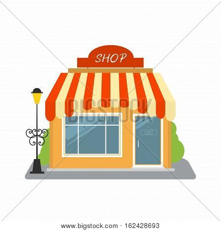 Shop street store building facade. Small building with roof and lamp. You can simply change text on signboard. Vector illustration