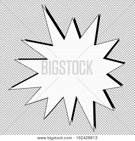 Comic vector illustration. Fight stamp with dots on background for card Manga or anime radial graphic texture sun ray or star burst background