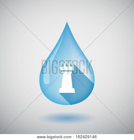 Isolated Water Drop With A  Rook   Chess Figure