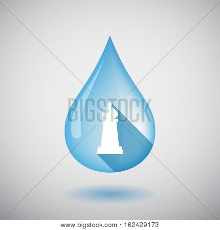 Isolated Water Drop With A Bishop    Chess Figure
