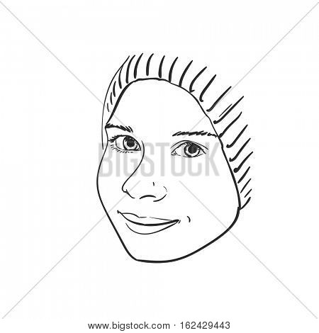 Face of young girl in hat, Vector sketch Hand drawn illustration