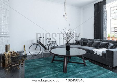 Modern simple living room with a large comfortable upholstered couch and cushions and a parked bicycle leaning against the wall in students digs or lodgings, 3d rendering