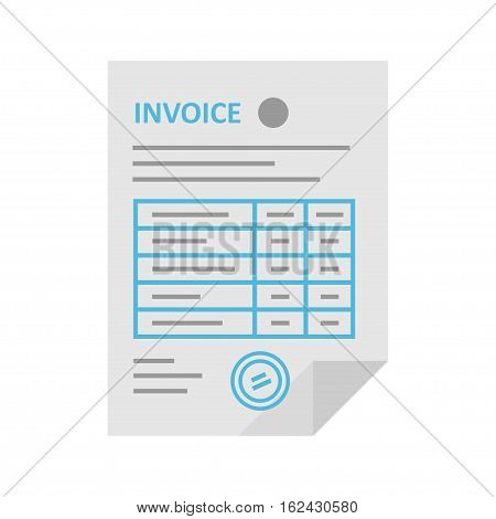Invoice icon in the flat style isolated from the background. Payment and billing invoices business or financial operations sign. Vector icon invoice for services rendered.