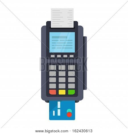 POS terminal vector icon in flat style isolated from the background. Payment using POS machines for credit and debit cards. Banking and business services.