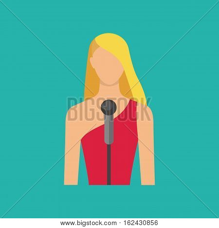Singing girl. Singer avatar icon. Female musician with microphon. Vector illustration flat style.