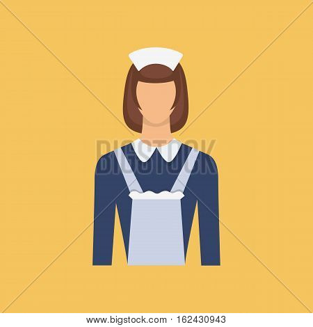 Hotel maid avatar.Cleaning woman icon. Maid uniform woman icon. Vector flat illustration isolated on yellow background.