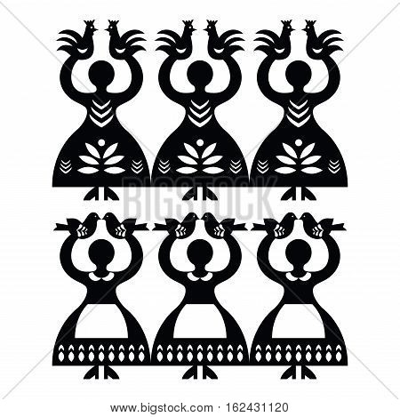 Polish folk art pattern Wycinanki Kolbielskie paper cutout