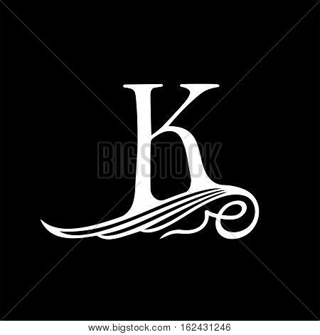 Capital Letter K for Monograms, Emblems and Logos. Beautiful Filigree Font. Is at Conceptual wing or waves.