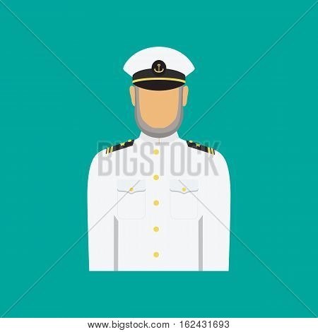 Ship captain in uniform in flat style. Vector illustration of seaman.