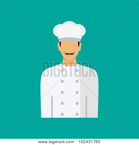 Mustachioed chef Icon. Chef cook avatar profile icon. Vector illustration in flat style.