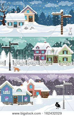 Evening city winter landscape with snow covered houses. Holidays vector illustration