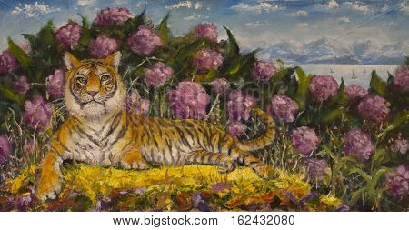 Original oil painting of portrait of a tiger on the summer flower meadow on canvas. Modern Impressionism Art. Artwork.