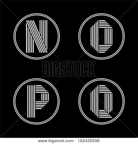 Capital letters N, O, P, Q . From white stripe in a black circle. Overlapping with shadows. Logo, monogram, emblem trendy design.