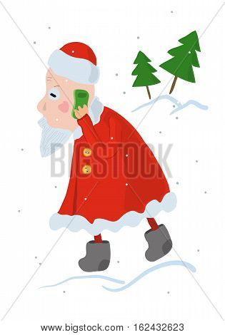 Santa Claus busy taking a Christmas order on a mobile phone. Santa talking on a smartphone very concerned. Cute funny cartoon vector illustration. Fir trees on a white background