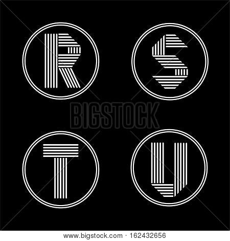 Capital letters R, S, T, U . From white stripe in a black circle. Overlapping with shadows. Logo, monogram, emblem trendy design.