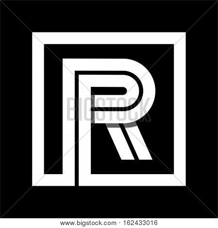 Capital letter R From white stripe enclosed in a square . Overlapping with shadows monogram, logo, emblem. Trendy design.