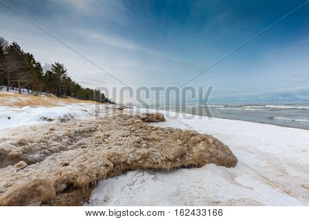 Ice And Snow On A Lake Huron Shoreline In December