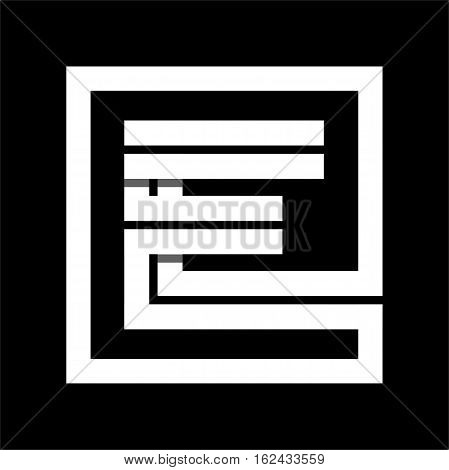 Capital letter E From white stripe enclosed in a square . Overlapping with shadows monogram, logo, emblem. Trendy design.