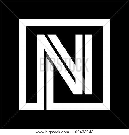 Capital letter N From white stripe enclosed in a square . Overlapping with shadows monogram, logo, emblem. Trendy design.