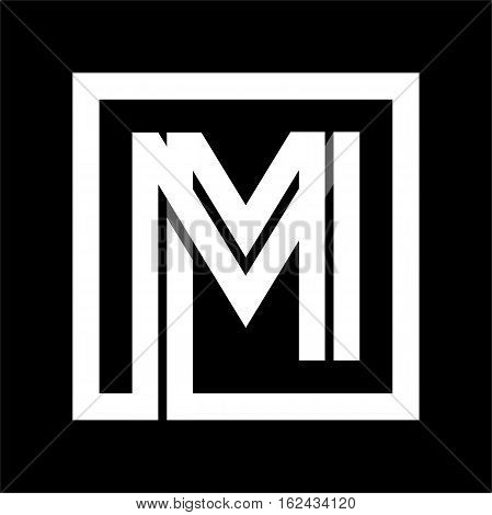 Capital letter M From white stripe enclosed in a square . Overlapping with shadows monogram, logo, emblem. Trendy design.