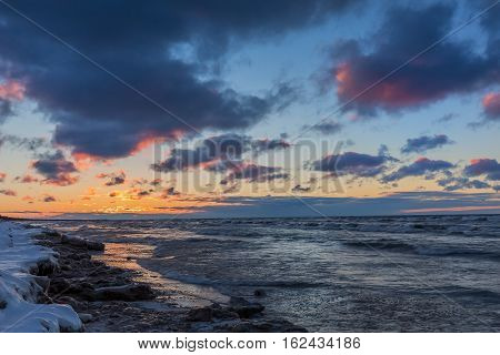 Lake Huron Shoreline At Sunset In Early Winter - Canada