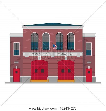 Cute cartoon vector illustration of a fire station
