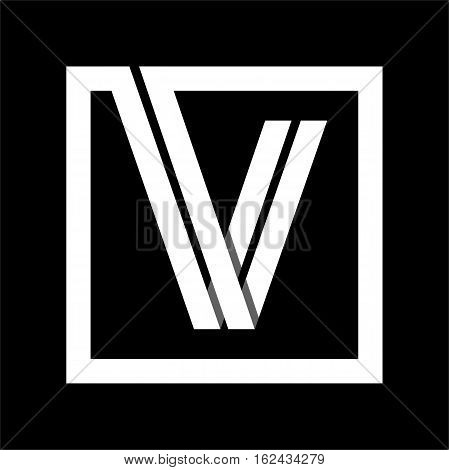 Capital letter V From white stripe enclosed in a square . Overlapping with shadows monogram, logo, emblem. Trendy design.