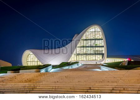Heydar Aliyev Center At Night, Baku