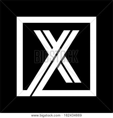 Capital letter X From white stripe enclosed in a square . Overlapping with shadows monogram, logo, emblem. Trendy design.