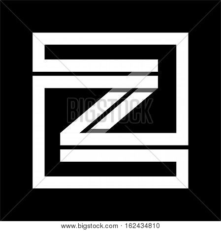 Capital letter Z From white stripe enclosed in a square . Overlapping with shadows monogram, logo, emblem. Trendy design.