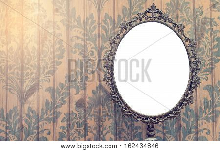 Blank Vintage mirror photo frame with copy space.