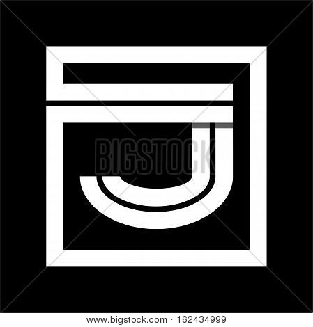 Capital letter J From white stripe enclosed in a square . Overlapping with shadows monogram, logo, emblem. Trendy design.
