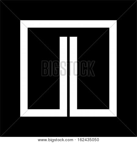 Capital letter I From white stripe enclosed in a square . Overlapping with shadows monogram, logo, emblem. Trendy design.