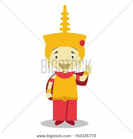 Character from Cambodia dressed in the traditional way Vector Illustration. Kids of the World Collection.