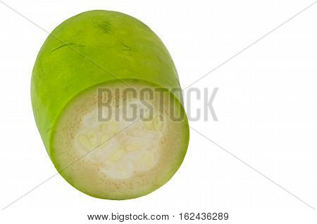 Vertical cut of 'Winter Melon' or 'Benincasa Hispida' (scientific name) is isolated on white background and clipping path