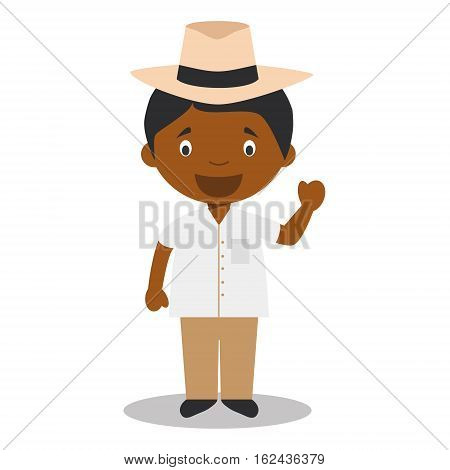 Character from Cuba dressed in the traditional way with a Panama hat. Vector Illustration. Kids of the World Collection.