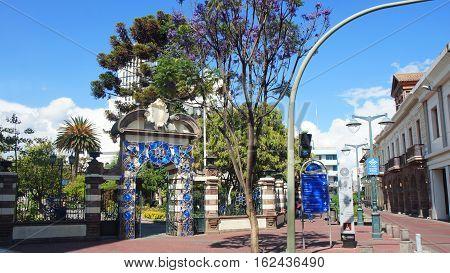 Ambato, Tungurahua / Ecuador - December 17 2016: Entrance door of Montalvo Park in the city of Ambato