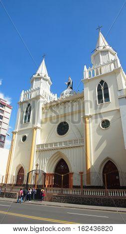 Ambato, Tungurahua / Ecuador - December 17 2016: View of Santo Domingo Church. It is Cultural Patrimony of the city of Ambato
