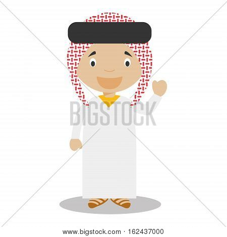 Character from Saudi Arabia dressed in the traditional way Vector Illustration. Kids of the World Collection.