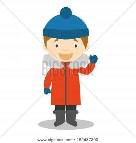 Character from South Pole, Arctic or Antarctica dressed in the traditional way Vector Illustration. Kids of the World Collection.