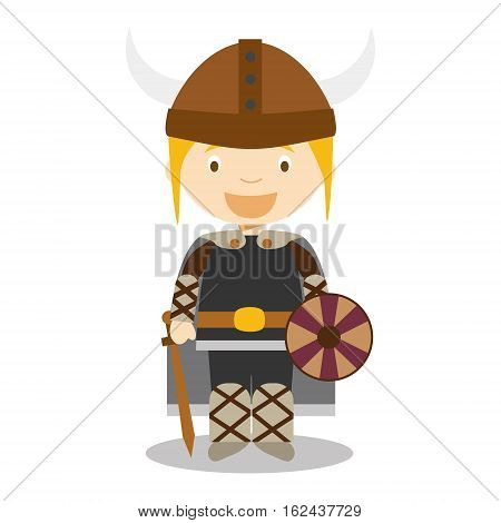 Character from Norway, Sweden or Scandinavia. Viking boy dressed in the traditional way Vector Illustration. Kids of the World Collection.