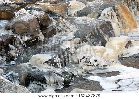 Close up of small rapids with ice and flowing