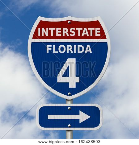 USA Interstate 4 highway sign Red white and blue interstate highway road sign with number 4 with sky background 3D Illustration