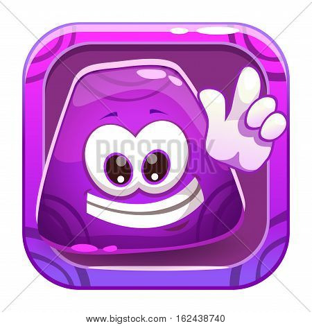 App icon with funny cute purple jelly character. Vector cartoon asset for application store game logo design.
