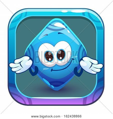 App icon with funny cute blue rhombus jelly character. Vector cartoon asset for application store game logo design.
