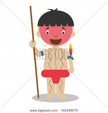 Character from Venezuela dressed in the traditional way as a Yanomami indigenous. Vector Illustration. Kids of the World Collection.