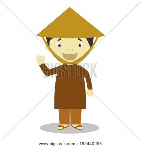 Character from Vietnam dressed in the traditional way Vector Illustration. Kids of the World Collection.