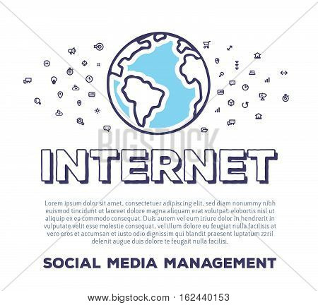Vector creative illustration of planet Earth with word typography and cloud of line icons on white background. Global technology template. Thin line art style concept design for internet web site print